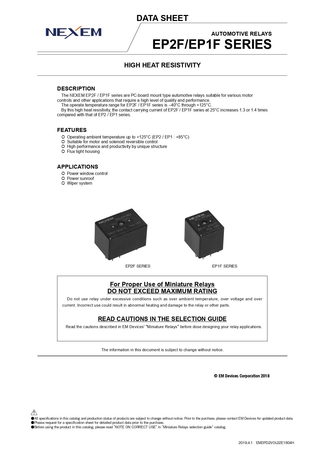 Miniature Power Relay Data Sheet pdfimage