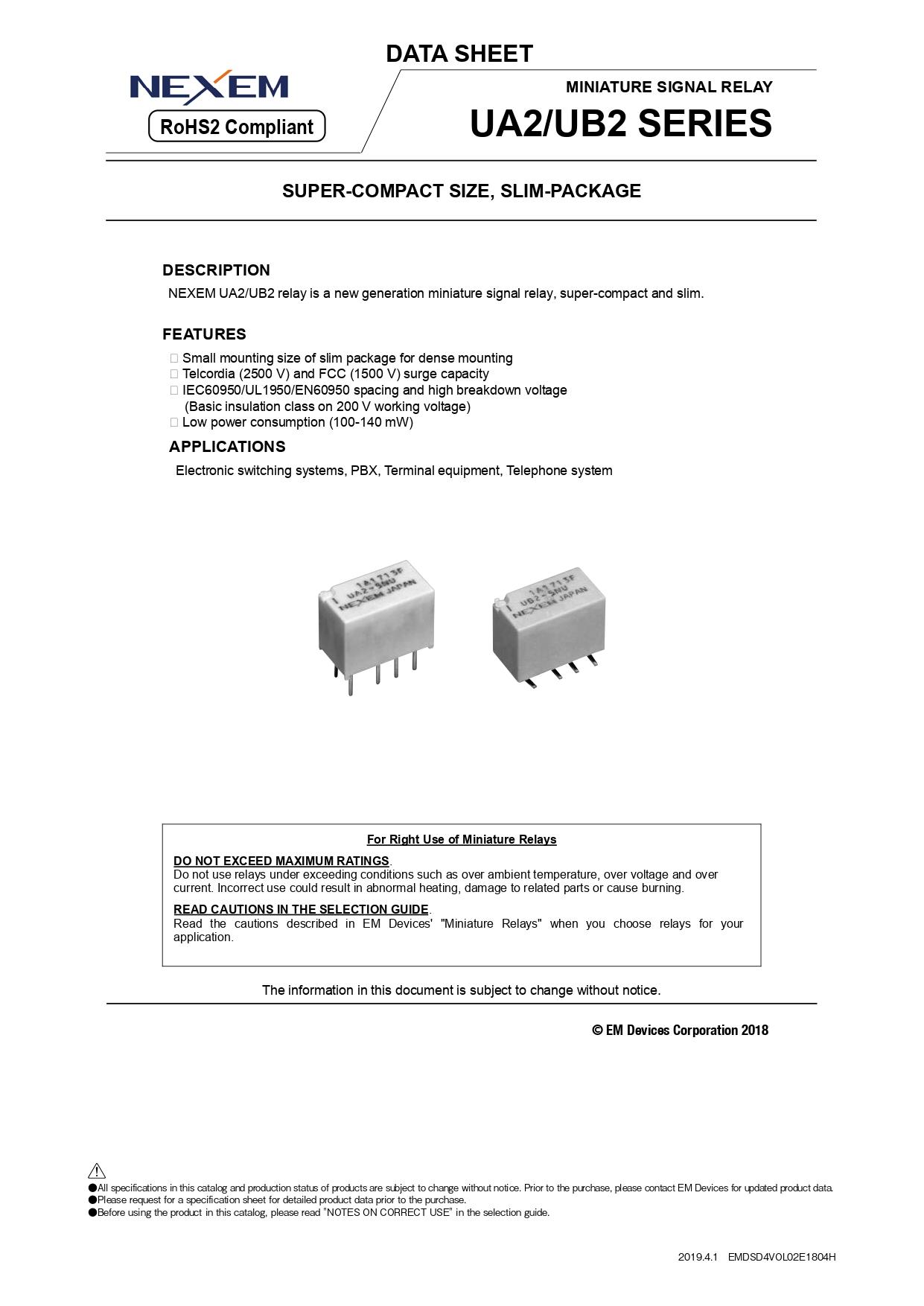 Miniature Signal Relay Data Sheet pdfimage